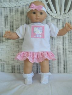 Doll Clothes  Bitty Baby Girl  My Kitty 3 pc Pink  and by btcrafts