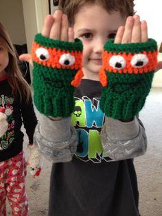 Ninja turtle gloves I made, no pattern