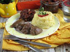 Konfitált malacpofa karfiolpürével és körte chutneyval Paleo, Beef, Food, Meat, Essen, Beach Wrap, Meals, Yemek, Eten