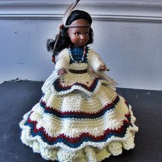 *NATIVE AMERICAN GIRL DOLLS CROCHETED DRESS MAKES A CUTE TOILET TISSUE COVER*    This 2-pc handmade set includes an off-white skirt & top accented $45.00