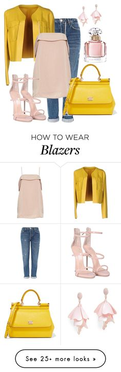 """""""Yellow and Pink"""" by rozlynjanine on Polyvore featuring Topshop, Sportmax, Giuseppe Zanotti, Dolce&Gabbana, Oscar de la Renta Pink Label and Guerlain"""