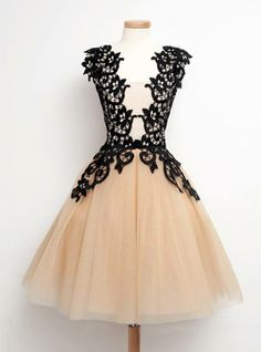 Find unique, vintage and handmade Best Elegant Scoop Mid-calf Champagne Homecoming/Party Dress with Black Lace Special Occasion Dresses in SimpleDress Elegant Scoop Mid-calf Champagne Homecoming/Party Dress with Black Lace Lovely Dresses, Simple Dresses, Beautiful Outfits, Vintage Dresses, Vintage Outfits, Vintage Fashion, 1950s Dresses, Vintage Lace, Champagne Homecoming Dresses