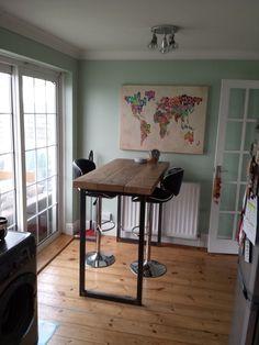 Industrial Mill Reclaimed Wood Breakfast Bar/Console Table - www.reclaimedbespoke.co.uk