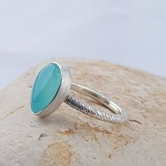 Solitare Ring, Blue Chalcedony, Blue Gemstones, Band Rings, Sterling Silver Rings, Gemstone Rings, Stud Earrings, Pear Shaped, Unique Jewelry