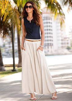 Длинная юбка, BODYFLIRT, бежевый