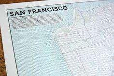 Typographic, San Francisco Map.