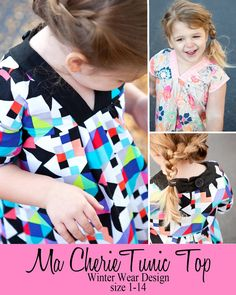 Ma Cherie Tunic Top PDF sewing pattern in woven for girls V neck, long, short, length sleeve and sleevless Tunic Designs, Sewing Patterns For Kids, Winter Wear, Dress Patterns, Pleated Skirt, Kids Fashion, Fashion Ideas, Tunic Tops, V Neck
