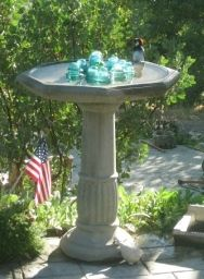 how to clean a birdbath...bleach, peroxide, vinegar, baking soda, etc... copper to prevent algae (pennies before 1982) or piece of pipe