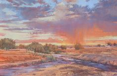 """""""Monsoon Evening"""" pastel painting by New Mexico artist Iva Morris"""