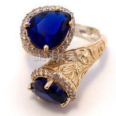Free Shipping made in Turkey 925 sterling silver ring hurrem kosem sultan tear drop sapphire blue topaz turkish jewellery ottoman handmade f by SILVERSEZ on Etsy