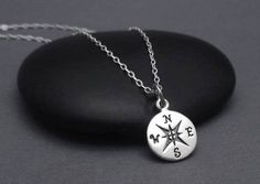 Sterling Silver Compass Necklace, Compass Charm Pendant, Graduation Gift, Travel Jewelry, Good Luck