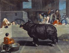 """""""Rhinoceros In Venice""""artist: Pietro Longhi→Date: 1751 Style: Rococo Genre: genre painting Tags: animals, streets-and-squares File Source: commons.wikimedia.org"""