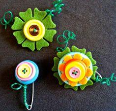 DIY Button : DIY Make Button Flower Brooches