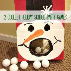 12 Coolest Holiday School Party Games   (Find a gift bag with a snowman and have students use tweezers to put snow in   his mouth while counting)