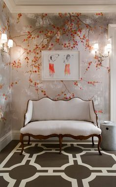 Plum Blossom paper on silver by de Gournay; from $832 per panel. degournay.com  Home Decor Ideas - Flower Wallpaper Photos | Architectural Digest
