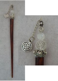 Silver Celtic Knot Beaded Wooden Hair Stick New Shawl Pin Accessories Fashion #Handmade #HairStick http://www.ebay.com/itm/161863374988?ssPageName=STRK:MESELX:IT&_trksid=p3984.m1555.l2649