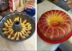 1/2 Cup butter (1 stick), melted   1/2 Cup packed brown sugar   1 Can pineapple rings in 100% juice (reserve the juice...