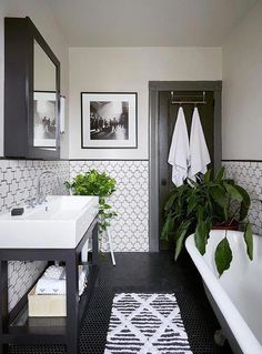 Modern meets traditional Bathhouse #Bathroomdecor Contemporary Bathrooms, Modern Bathroom, Boho Bathroom, Master Bathrooms, Bathroom Bin, Master Baths, Bathroom Mirrors, Small Bathrooms, Bathroom Cabinets
