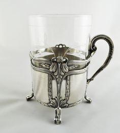 art nouveau silver glass holder | WMF Jugendstil Teeglashalter Art Nouveau, Art Deco, Vintage Silver, Antique Silver, Glass Tea Cups, Russian Tea, Flower Aesthetic, Glass Holders, Metal