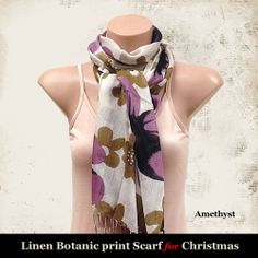 Linen Botanic print scarf for Christmas Gifts - Amethyst