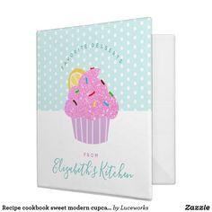 Recipe cookbook sweet modern cupcake, dots on aqua 3 ring binder