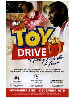 Join us and give a toy from the heart. Nov.23rd - Dec. 19th to support the Mack Alive Youth. Come in and donate today.Please see Lauren or Alice about donations.