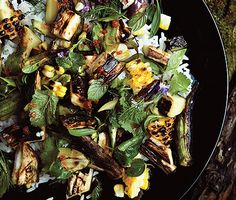 Grilled Vegetable and Rice Salad with Fish-Sauce Vinaigrette by Zakay Pelaccio, Bon Appetit #Salad #Rice #Grill