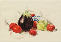 Eggplant and Tomatoes, by Charles Demuth, 1926 - watercolor on paper. Location: Museum of Modern Art, New York, NY. Charles Sheeler, Charles Demuth, Stuart Davis, Moma Collection, O Keeffe, Alfred Stieglitz, American Modern, Museum Of Modern Art, American Artists