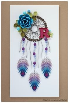 © - Quilled Dreamcatchers - Searched by Châu Khang Arte Quilling, Quilling Work, Quilling Paper Craft, Quilling Flowers, Paper Flowers, Paper Crafts, Paper Quilling Tutorial, Paper Quilling Cards, Paper Quilling Patterns