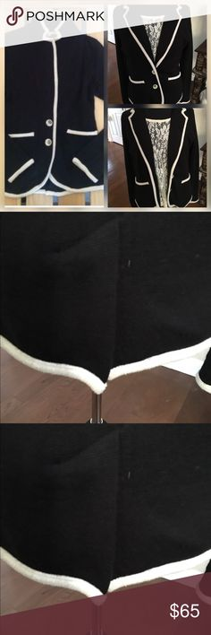 Moth Sailor- black &white blazer Size Large  EUC- beautiful designs in the sleeves and the backside. antropologie-moth  Jackets & Coats Blazers
