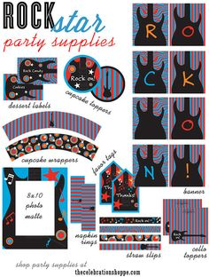 Red, black and aqua ROCK STAR Birthday Party Supplies | thecelebrationshoppe.com $19.00