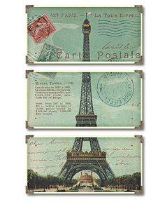 Uttermost Wall Art, Eiffel Tower Carte Postale Triptych - Wall Art - for the home - Macy's