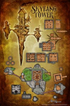 An imperial skytower floating somewhere over the borders of Argos and Deoria. This map was designed for the Aeranos setting, Airships and Arcanists. Dnd World Map, Fantasy City Map, Pathfinder Maps, Ship Map, Rpg Map, Map Maker, Dragon Rpg, Adventure Map, Dungeons And Dragons Characters