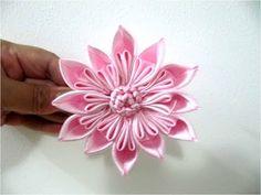 Moños para el cabello en cintas flor rosa estrella  de doce pétalos (+li...
