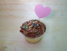 Pink Sparkle Heart Cupcake Topper Set of 12 by PartyOnArborLane