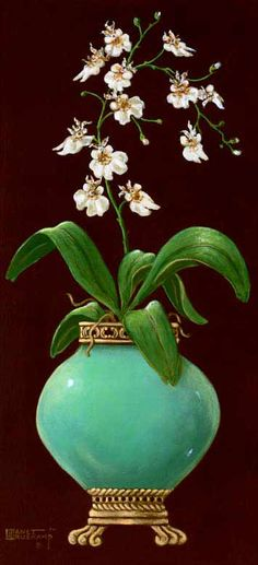Ginger Jar with Orchids II, an original oil painting by artist Janet Kruskamp. A rounded jade colored jar sitting on a banded bottom with cl...