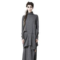 Shop Sustainable Luxury Avant-garde Designer Barbara I Gongini Grey Turtleneck Sweater Dress at Erebus