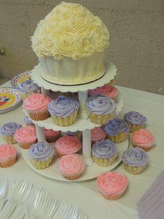 birthday cake, jumbo cupcake, cupcakes, classic, off white, pink, purple, layers, roses, plates