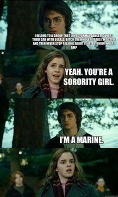 military humor, joke, USMC, Marine, Corps, sorority, Harry Potter, meme, Hermione
