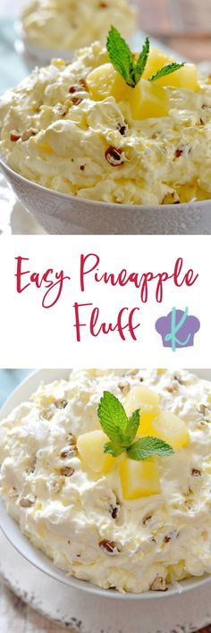 With only a few ingredients, this light and creamy Easy Pineapple Fluff comes together in just a few minutes and is the perfect dessert for spring! pineapple dessert recipes recipes using pineapple homemade fluff recipes dessert recipes for spring Fluff Desserts, Desserts Nutella, Köstliche Desserts, Spring Desserts, Pudding Desserts, Homemade Desserts, Jello Recipes, Fruit Salad Recipes, Easter Recipes
