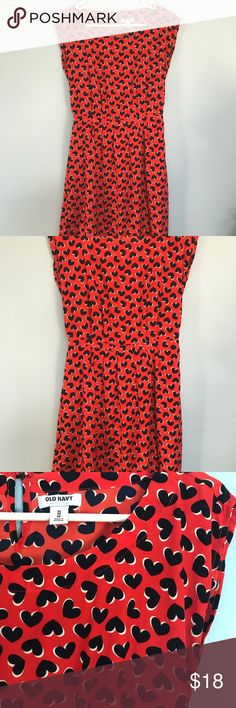 CLOSET CLEAN OUT ✨  OLD NAVY // HEART DRESS CLOSET CLEAN OUT // accepting all reasonable offers Red + dress patterned with scattered navy hearts. Old Navy Dresses