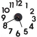 TOOGOO (R) Reloj Adhesivo Pared Movimiento + Numero Arabigo DIY Negro