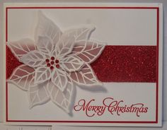 handmade Christmas card from In My Craft Room ... red and white ... poinsettia embossed in white on translucent vellum cut out in two layers ... red gems center ... stripe of red glitter paper ... luv the look! ... Stampin' Up!