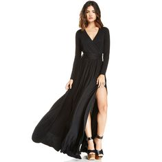 Vivian Jersey Knit Wrap Maxi Dress (280 SAR) ❤ liked on Polyvore featuring dresses, gowns, long dresses, black, bodies, long sleeve evening dresses, high slit maxi skirt, sexy maxi skirt, strapless maxi dress and long sleeve black gown