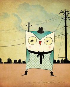 Art Print, Owl, Home Decor, Wall Art, Children's Art, Original illustration by Penelope and Pip