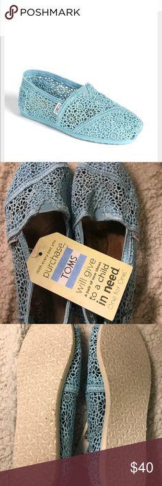 TOMS NWT Blue Crochet NWT Blue Crochet atoms Toms Shoes