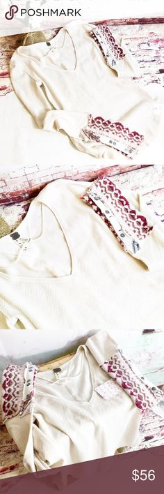 FREE PEOPLE Thermal Top, Size S, NWT Off white color with dark raspberry cuffs. Free People Tops