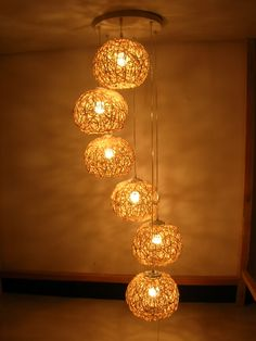 handmade Natural Rattan Woven six Balls Pendant Lights Living Room chandelier Lamp Bedroom Sears Home Improvement