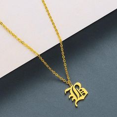 Handmade Initials Necklace, Old English Initial Necklace, Old English Necklace, Best Friends Gift, G Letter Pendant Necklace, Letter Pendants, Initial Pendant, Men Necklace, Initial Necklace, Initial Jewelry, Name Jewelry, Custom Jewelry, Jewelry Sets