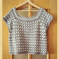 Jersey Granny Stripe Fácil y Rápido a Crochet - Kleidung Ideen Crochet Summer Tops, Crochet For Kids, Easy Crochet, Free Crochet, Knit Crochet, Crochet Bodycon Dresses, Black Crochet Dress, Crochet Blouse, Granny Stripe Crochet